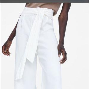 NWT Zara Linen Tied White Pants Size Small S